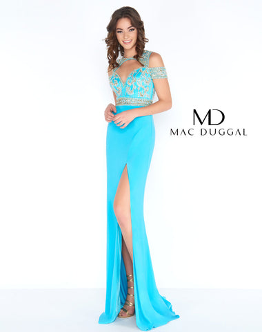 Mac Duggal 2034A Prom Dress Turquoise