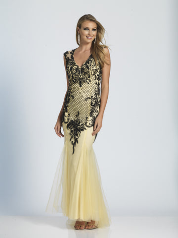 Dave & Johnny Prom Dress 2064 Nude/Black
