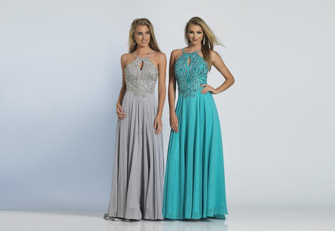 Prom Dress Dave & Johnny 2143 Turquoise and Grey