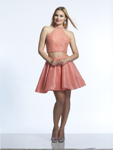Homecoming Dress Dave & Johnny 2228 Coral