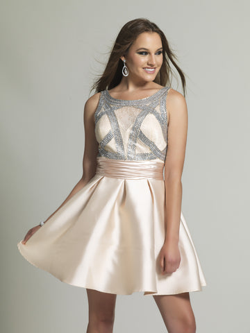 Homecoming Dress Dave & Johnny 2259 Champagne