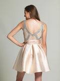 Homecoming Dress Dave & Johnny 2259 Champagne Back