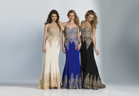 Prom Dress Dave & Johnny 2322 Champagne, Sapphire & Black