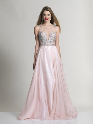 Prom Dress Dave & Johnny 2365 Pink
