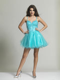 Homecoming Dress Dave & Johnny 2381 Turquoise