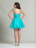Homecoming Dress Dave & Johnny 2381 Turquoise Back