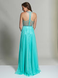 Dave & Johnny 2435 Prom Dress Aqua Back
