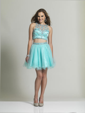 Dave & Johnny 2491 Homecoming Dress Aqua