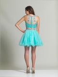 Dave & Johnny 2491 Homecoming Dress Aqua Back