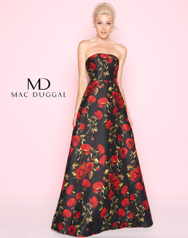 Mac Duggal 25263L Prom Dress Black Rose Floral