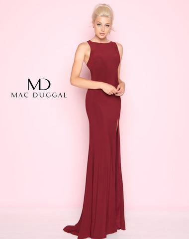 Mac Duggal 25354L Prom Dress Burgundy