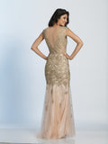 Prom Dress Dave & Johnny 2635 Gold Back