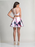 Homecoming Dress Dave & Johnny 2647 White Print Back