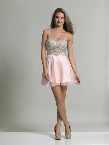 Homecoming Dress Dave & Johnny 2726 Blush