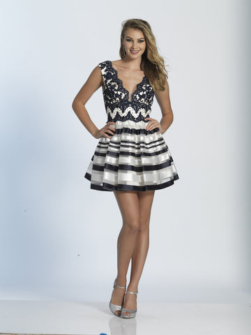 Dave & Johnny 2783 Homecoming Dress Navy Stripe