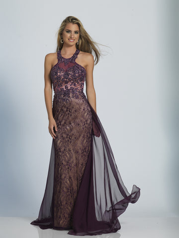 Prom Dress Dave & Johnny 2788 Eggplant