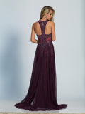Prom Dress Dave & Johnny 2788 Eggplant Back