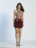 Homecoming Dress Dave & Johnny 2973 Burgundy