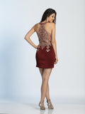 Homecoming Dress Dave & Johnny 2973 Burgundy Back