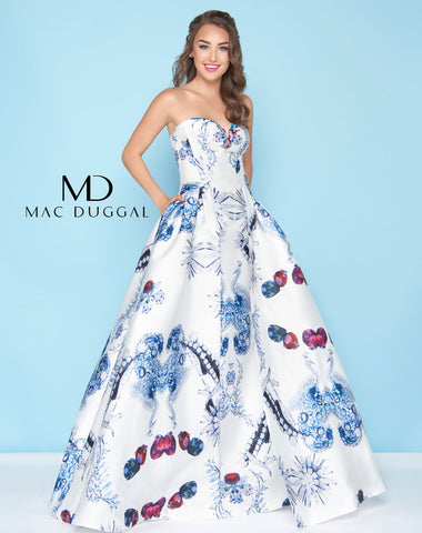 Mac Duggal 30374H Prom Dress Diamond White