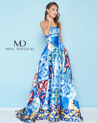 Mac Duggal 30378H Prom Dress Island Blue