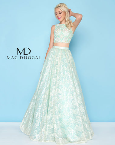 Mac Duggal 40583H Prom Dress Seafoam