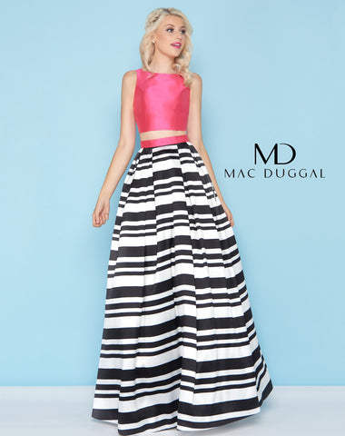 Mac Duggal 40589H Prom Dress Fuchsia Stripes