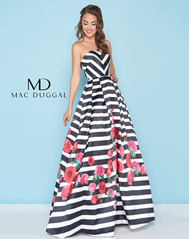 Mac Duggal 40597H Prom Dress Black/White/Rose