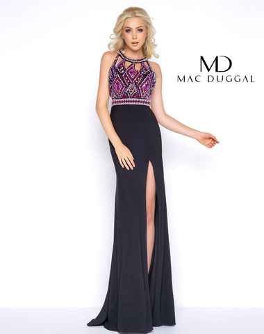Mac Duggal 40603A Prom Dress Black/Multi-Color