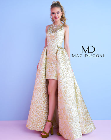Mac Duggal 40694N Homecoming Dress Gold