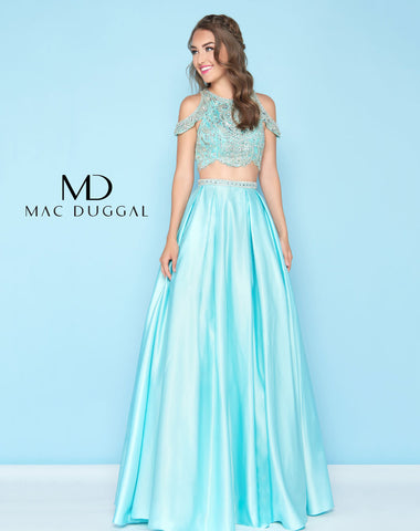 Mac Duggal 40726H Prom Dress Aqua