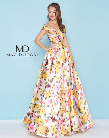Mac Duggal 40727H Prom Dress Blush/Multi-Color