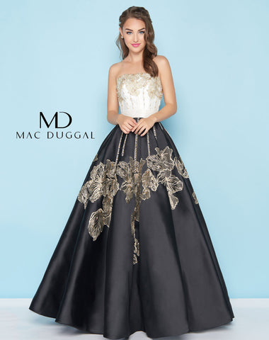 Mac Duggal 40737H Prom Dress Ivory/Black