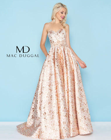 Mac Duggal 40751H Prom Dress Rose Gold