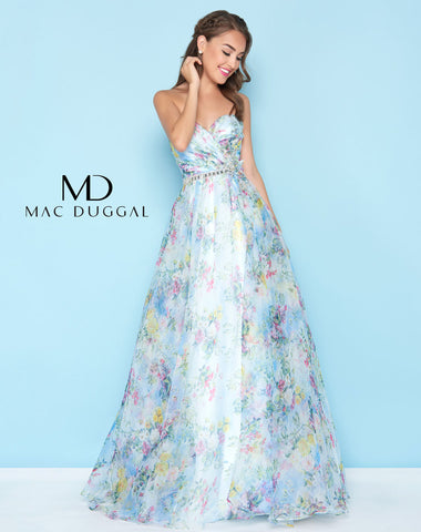 Mac Duggal 40768H Prom Dress Blue Floral