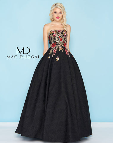Mac Duggal 40815H Prom Dress Black/Gold