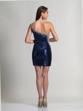 Prom Dress Dave & Johnny 418 Navy Back