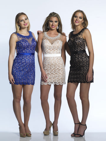 Dave & Johnny 453 Homecoming Dress Black, Sapphire & Ivory