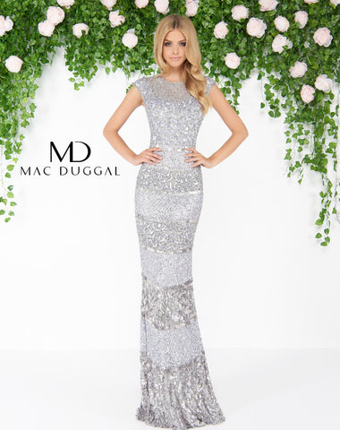 Mac Duggal 4579D Prom Dress Platinum