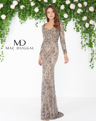 Mac Duggal 4606D Prom Dress Mocha