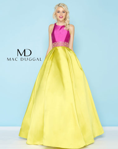 Mac Duggal 48581H Prom Dress Orchid/Chartreuse