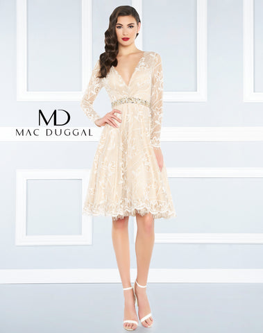 Mac Duggal Homecoming Dress 48626R Ivory/Nude