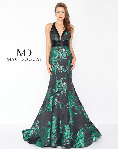 Mac Duggal 48727R Prom Dress Metallica Green