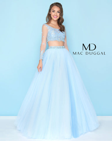 Mac Duggal 50441H Prom Dress Sky Blue