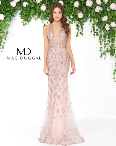 Mac Duggal 50455D Prom Dress Rose Gold