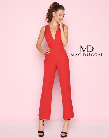 Mac Duggal 55203L Prom Jumpsuit Red