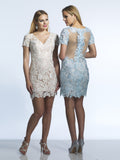 Homecoming Dress Dave & Johnny 561 Ivory & Ice Blue