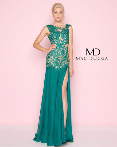 Mac Duggal 61041L Prom Dress Emerald