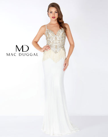 Mac Duggal 62957R Prom Dress Ivory/Gold