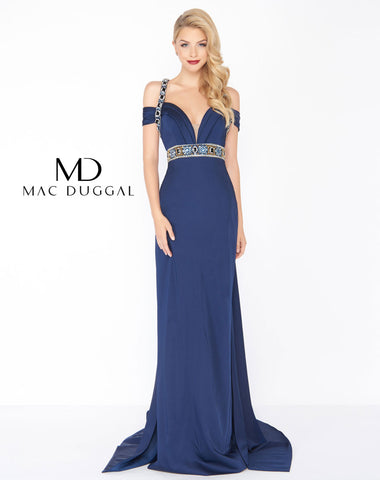 Mac Duggal 62996R Prom Dress Navy